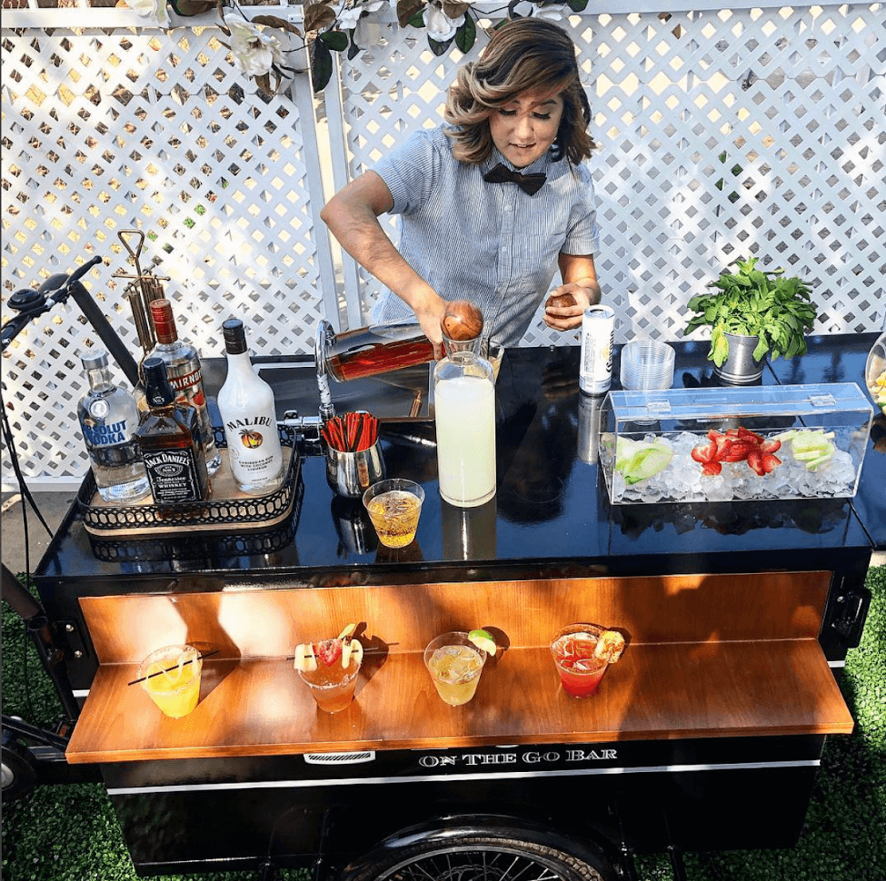 Bar Cart for a Backyard Wedding